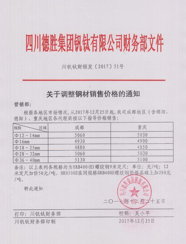 澳门mg游戏集团钒钛有限公司12月25日钢材销售指导价
