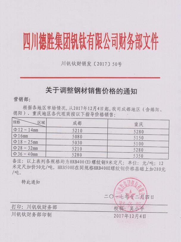 澳门mg游戏集团钒钛有限公司12月4日钢材销售指导价
