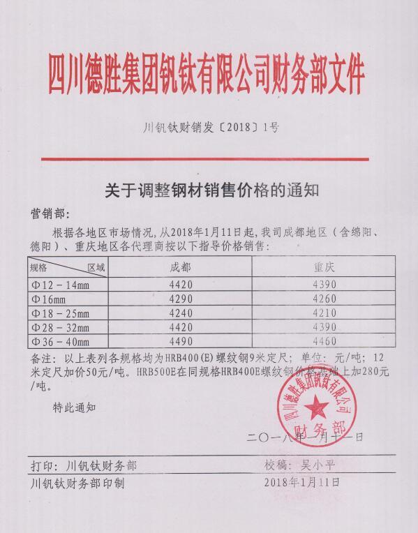 澳门mg游戏集团钒钛有限公司1月11日钢材销售指导价