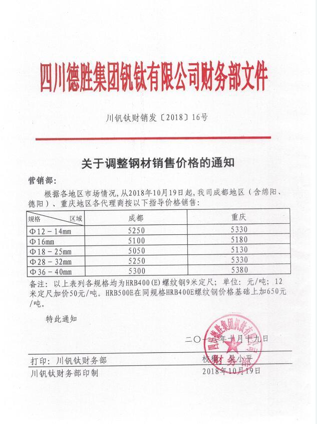 澳门mg游戏集团钒钛有限公司10月19日钢材销售指导价
