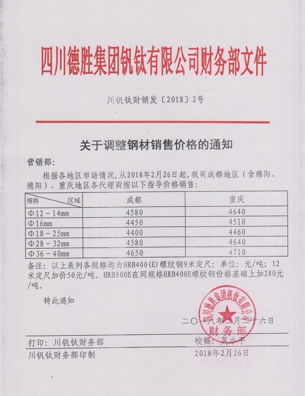 澳门mg游戏集团钒钛有限公司2月26日钢材销售指导价