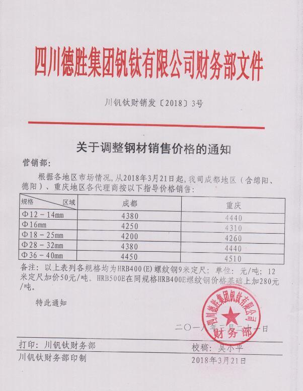 澳门mg游戏集团钒钛有限公司3月21日钢材销售指导价