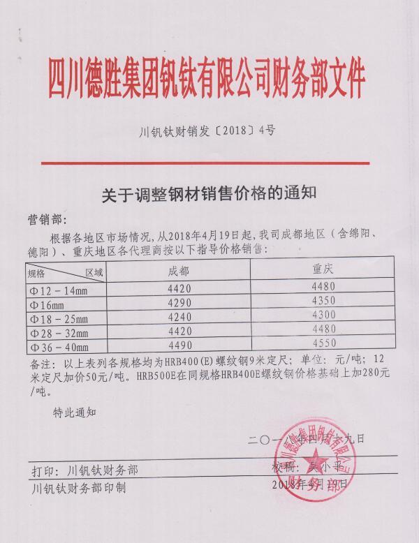 澳门mg游戏集团钒钛有限公司4月19日钢材销售指导价