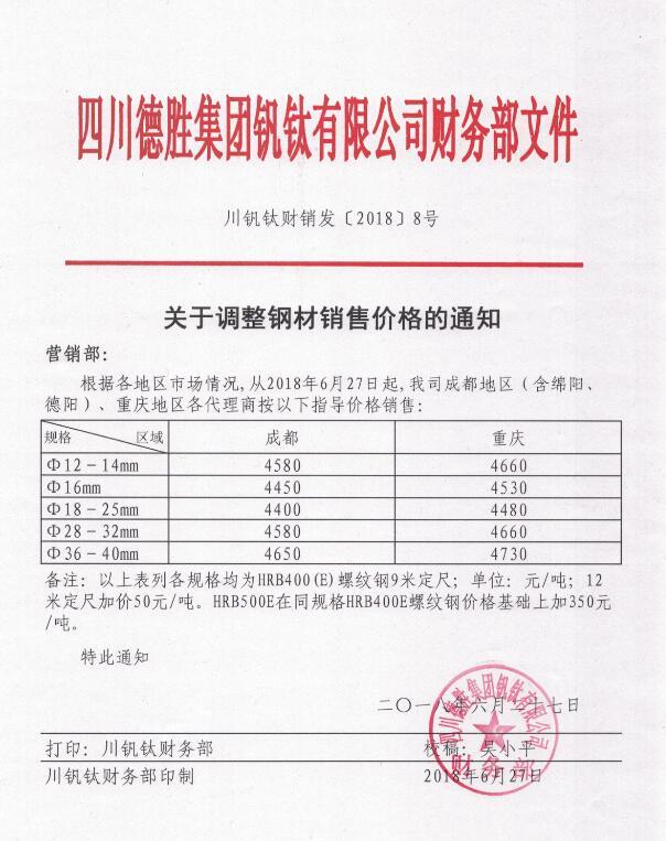 澳门mg游戏集团钒钛有限公司6月27日钢材销售指导价