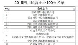 奇趣腾讯分分彩位列 2019四川省民营企业100强第5位